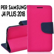Custodia cover Per Samsung J4 PLUS 2018 Rosa-Blu ,slim luxury a libro/portafoglio stand case interno in tpu
