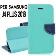 Custodia cover Per Samsung J4 PLUS 2018 Verde-Blu ,slim luxury a libro/portafoglio stand case interno in tpu