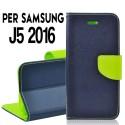 Custodia Per Samsung J5 2016 cover slim luxury a libro/portafoglio  stand case interno in tpu Blu-Lime