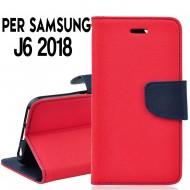 Custodia cover Per Samsung J6 2018 Rosso-Blu,slim luxury a libro/portafoglio stand case interno in tpu