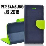 Custodia cover Per Samsung J6 2018 Blu-Lime, slim luxury a libro/portafoglio stand case interno in tpu