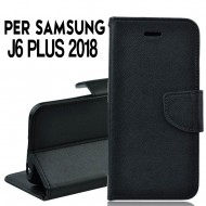 Custodia cover Per Samsung J6 PLUS 2018 nera ,slim luxury a libro/portafoglio stand case interno in tpu