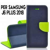 Custodia cover Per Samsung J6 PLUS 2018 Blu-Lime, slim luxury a libro/portafoglio stand case interno in tpu