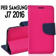 Custodia Per Samsung J7 2016 cover slim luxury a libro/portafoglio  stand case interno in tpu Rosa-Blu
