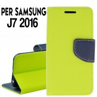 Custodia Per Samsung J7 2017 cover slim luxury a libro/portafoglio  stand case interno in tpu Lime-Blu