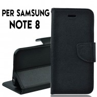 Custodia per samsung Note 8 cover slim luxury a libro/portafoglio stand case interno in tpu , Nero