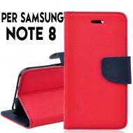 Custodia per samsung Note 8 cover slim luxury a libro/portafoglio  stand case interno in tpu Rosso-Blu