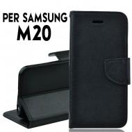 Custodia cover Per Samsung M20 Nero a libro/portafoglio stand case interno in tpu