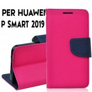 Custodia cover per Huawei P Smart 2019 slim luxury a libro-portafoglio stand case interno in tpu Rosa-Blu