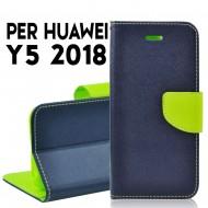 Custodia cover per Huawei Y5 2018 slim luxury a libro-portafoglio stand case interno in tpu Blu-Lime