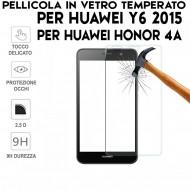 Pellicola pe Huawei Y6 2015 e Honor 4A Antiurto Vetro Temperato Proteggi Schermo