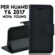 Custodia per Huawei Y6 2017- NOVA YOUNG slim luxury a libro-portafoglio stand case interno in tpu Nero