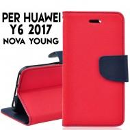 Custodia cover per Huawei Y6 2017- NOVA YOUNG slim luxury a libro-portafoglio stand case interno in tpu Rosso-Blu