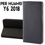 Custodia per Huawei Y6 2018 a libro - portafoglio chiusura magnetica cover tpu colore Nero