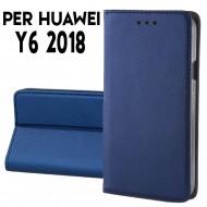 Custodia per Huawei Y6 2018 a libro - portafoglio chiusura magnetica cover tpu colore Blu