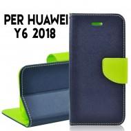 Custodia cover per Huawei Y6 2018 slim luxury a libro-portafoglio stand case interno in tpu Blu-Lime