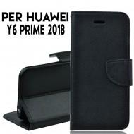 Custodia cover per Huawei Y6 prime 2018 slim luxury a libro-portafoglio stand case interno in tpu Nero