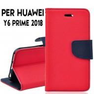 Custodia cover per Huawei Y6 prime 2018 slim luxury a libro-portafoglio stand case interno in tpu Rosso-Blu