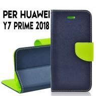 Custodia cover per Huawei Y7 PRIME 2018 slim luxury a libro-portafoglio stand case interno in tpu Blu-Lime