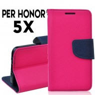 Custodia cover per Huawei Honor 5X slim luxury a libro-portafoglio stand case interno in tpu Rosa-Blu