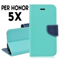 Custodia cover per Huawei Honor 5X slim luxury a libro-portafoglio stand case interno in tpu Verde-Blu