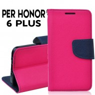Custodia cover per Huawei Honor 6 Plus slim luxury a libro-portafoglio stand case interno in tpu Rosa-Blu