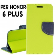 Custodia cover per Huawei Honor 6 Plus slim luxury a libro-portafoglio stand case interno in tpu Lime-Blu