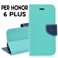 Custodia cover per Huawei Honor 6 Plus slim luxury a libro-portafoglio stand case interno in tpu Verde-Blu