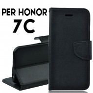 Custodia cover per Huawei Honor 7C slim luxury a libro-portafoglio stand case interno in tpu Nero