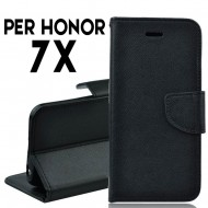 Custodia cover per Huawei Honor 7X slim luxury a libro-portafoglio stand case interno in tpu Nero
