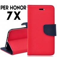 Custodia cover per Huawei Honor 7X slim luxury a libro-portafoglio stand case interno in tpu Rosso-Blu