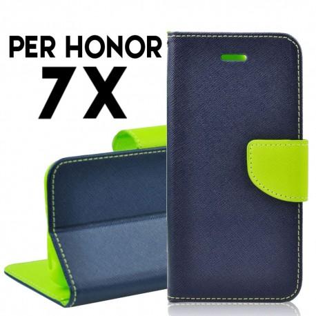 Custodia cover per Huawei Honor 7X slim luxury a libro-portafoglio stand case interno in tpu Blu-Lime