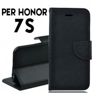 Custodia cover per Huawei Honor 7S slim luxury a libro-portafoglio stand case interno in tpu Nero