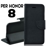 Custodia cover per Honor 8 slim luxury a libro-portafoglio stand case interno in tpu Nero