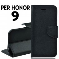 Custodia cover per Honor 9 slim luxury a libro-portafoglio stand case interno in tpu Nero