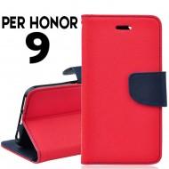 Custodia cover per Honor 9 slim luxury a libro-portafoglio stand case interno in tpu Rosso-Blu