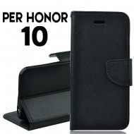Custodia cover per Honor 10 slim luxury a libro-portafoglio stand case interno in tpu Nero
