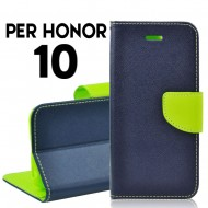 Custodia cover per Honor 10 slim luxury a libro-portafoglio stand case interno in tpu Blu-Lime