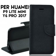 Custodia cover per Huawei P9 Lite Mini -Y6 Pro 2017 slim luxury a libro-portafoglio stand case interno in tpu , Nero