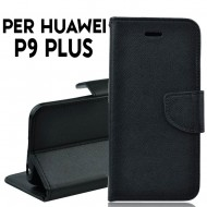 Custodia cover Per Huawei P9 Plus slim luxury a libro-portafoglio stand case interno in tpu , Nero