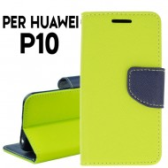 Custodia cover per Huawei P10 slim luxury a libro-portafoglio stand case interno in tpu Lime-Blu