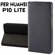 Custodia a libro per Huawei P10 Lite NERO STAND CASE INTERNO TPU CHIUSURA MAGNETICA