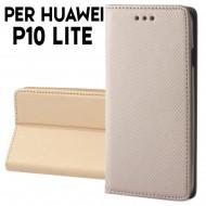 Custodia a libro per Huawei P10 Lite ORO STAND CASE INTERNO TPU CHIUSURA MAGNETICA