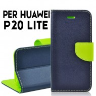Custodia cover per Huawei P20 Lite slim luxury a libro-portafoglio stand case interno in tpu Blu-Lime