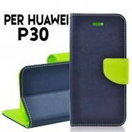 Custodia cover per Huawei P30 slim luxury a libro-portafoglio stand case interno in tpu Blu-Lime