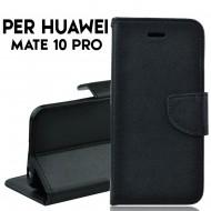 Custodia cover per Huawei Mate 10 pro slim luxury a libro-portafoglio stand case interno in tpu , Nero