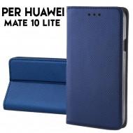 Custodia a libro per Huawei Mate 10 Lite BLU STAND CASE INTERNO TPU CHIUSURA MAGNETICA