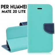 Custodia cover per Huawei Mate 20 Lite slim luxury a libro-portafoglio stand case interno in tpu Verde-Blu