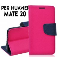 Custodia cover per Huawei Mate 20 slim luxury a libro-portafoglio stand case interno in tpu Rosa-Blu