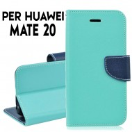 Custodia cover per Huawei Mate 20 slim luxury a libro-portafoglio stand case interno in tpu Verde-Blu